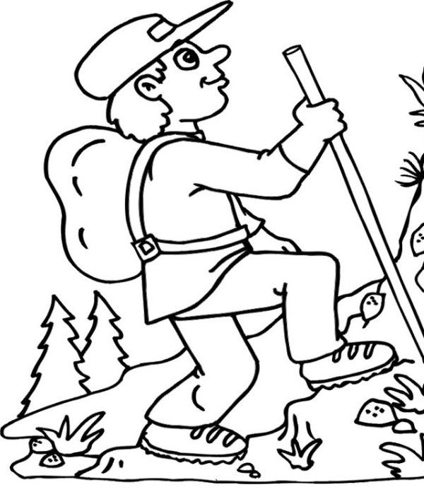 Hiking The Mountain In Summer Coloring Page For Kids (With ...