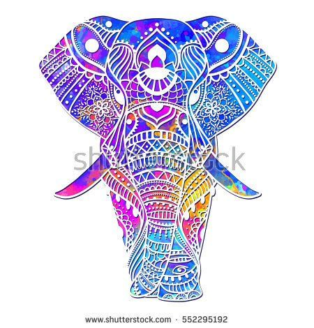 Watercolor Greeting card with elephant Frame of animals vector ...