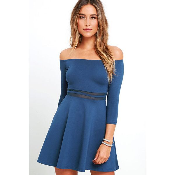 Yes to the Mesh Denim Blue Skater Dress ($49) ❤ liked on Polyvore featuring dresses, blue, denim dress, skater skirt, circle skirt, denim skater skirt and sheer dress