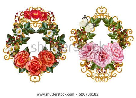 Set. Flower arrangement, bouquet. Beautiful vintage pink roses, green leaves, garland, wreath. Isolated on white background.Openwork gold weaving, jewelery, curls, arabesque. Old style.