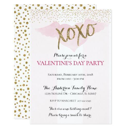 Watercolor Xoxo ValentineS Party Invitations  Party Invitations