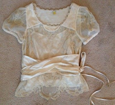 NEW! GORGEOUS!! Leifsdottir Anthropologie Lace Blouse Top Silk Velvet Ivory sz 6