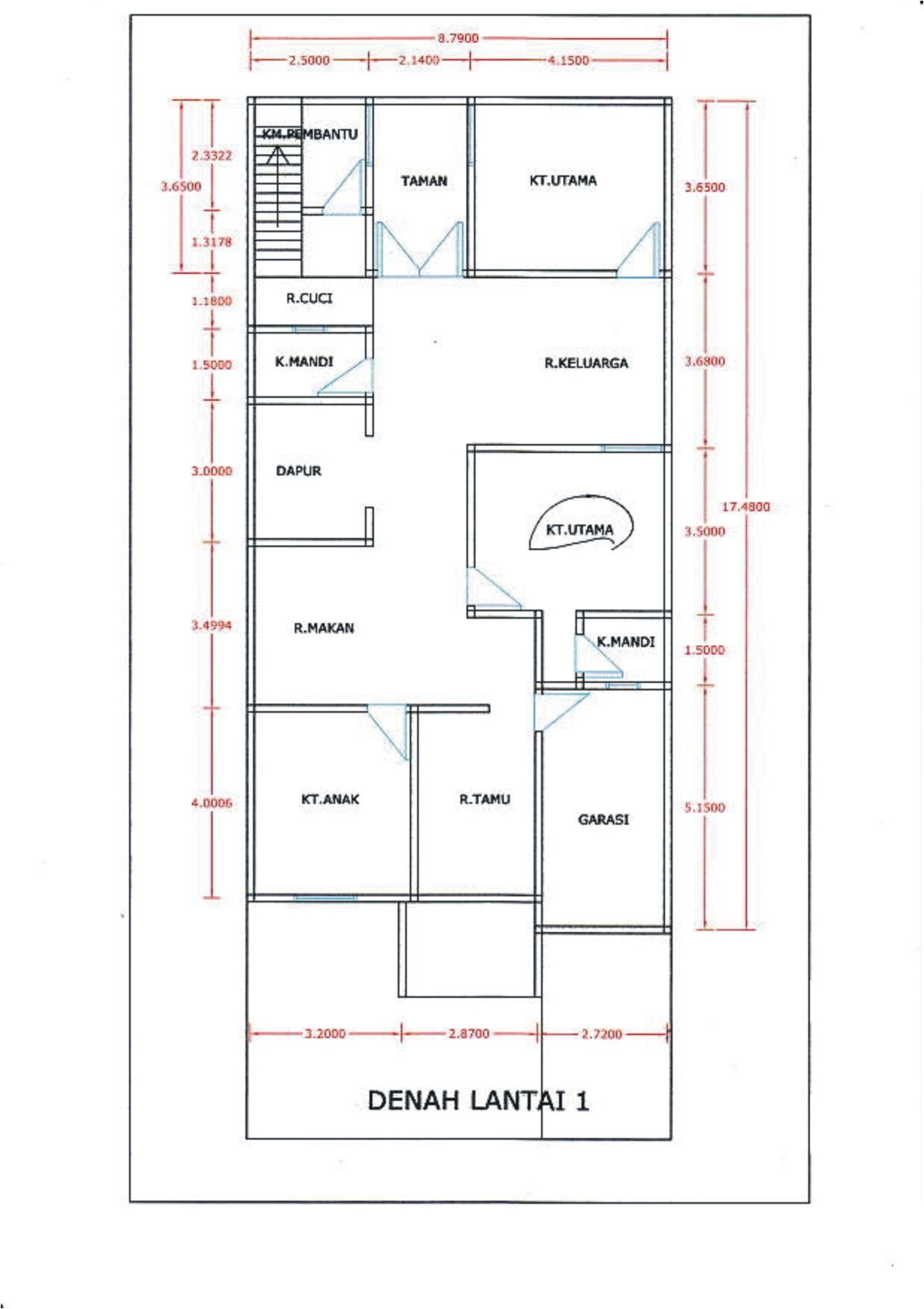 Denah Rumah Minimalis 1 Lantai 3 Kamar Tidur Tanpa Garasi