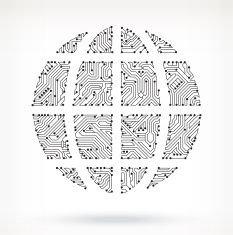 Globe on Circuit Board vector art illustration | Royalty Free Vector ...