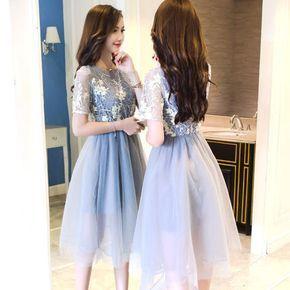 ドレス,ミニ・ミディアム 半袖 水色パーティードレス 結婚式 ワンピース キャバ 発表会(6)