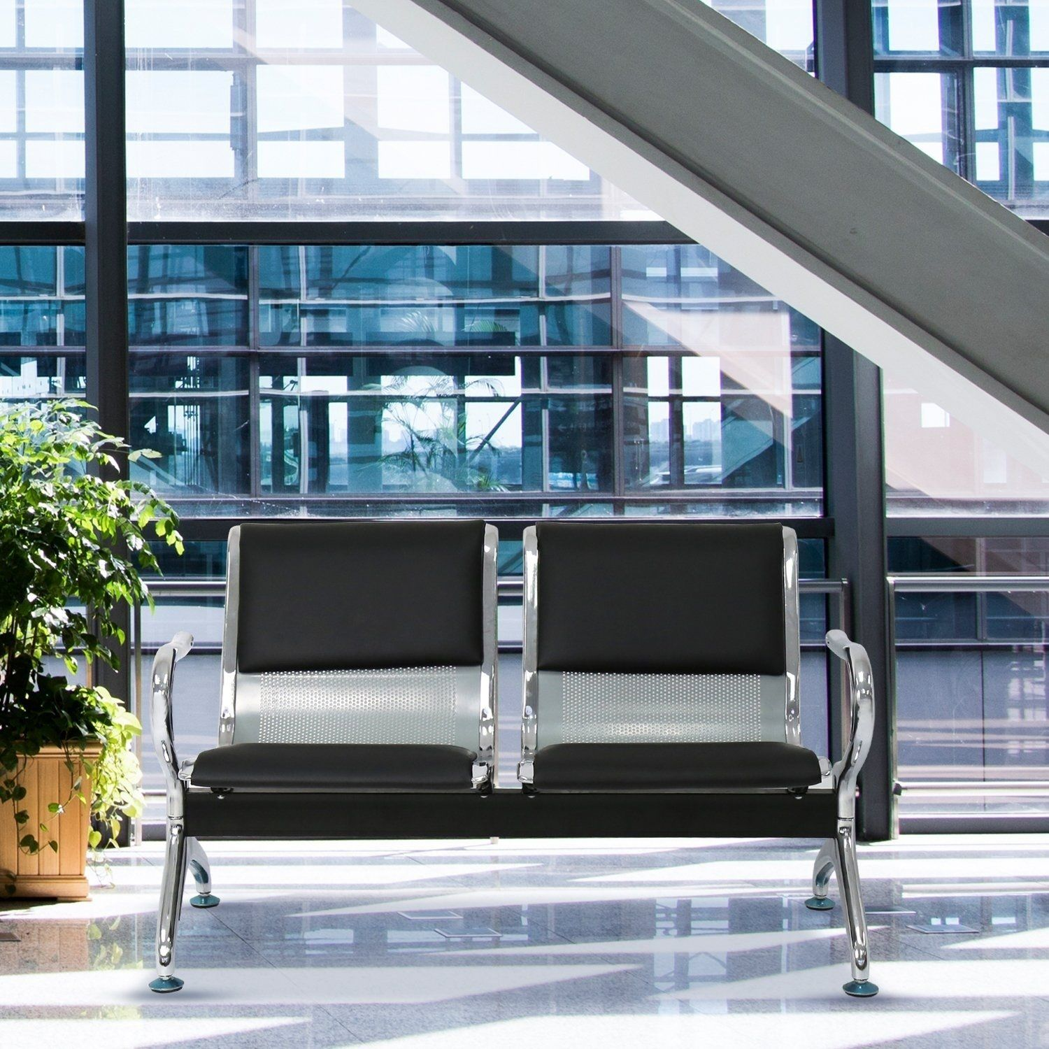 2 Seat Waiting Chair Reception Room Guest Chair Airport Bench Office Bank