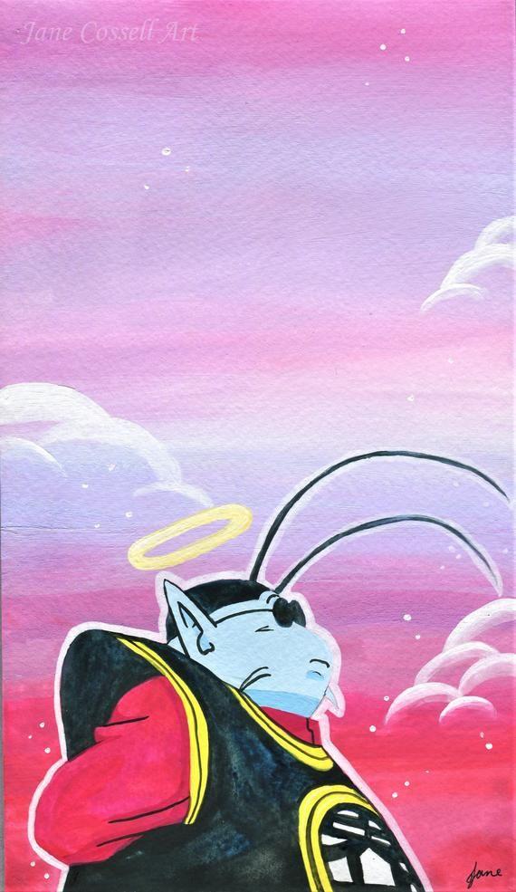 King Kai Dragonball Z original gouache painting DBZ