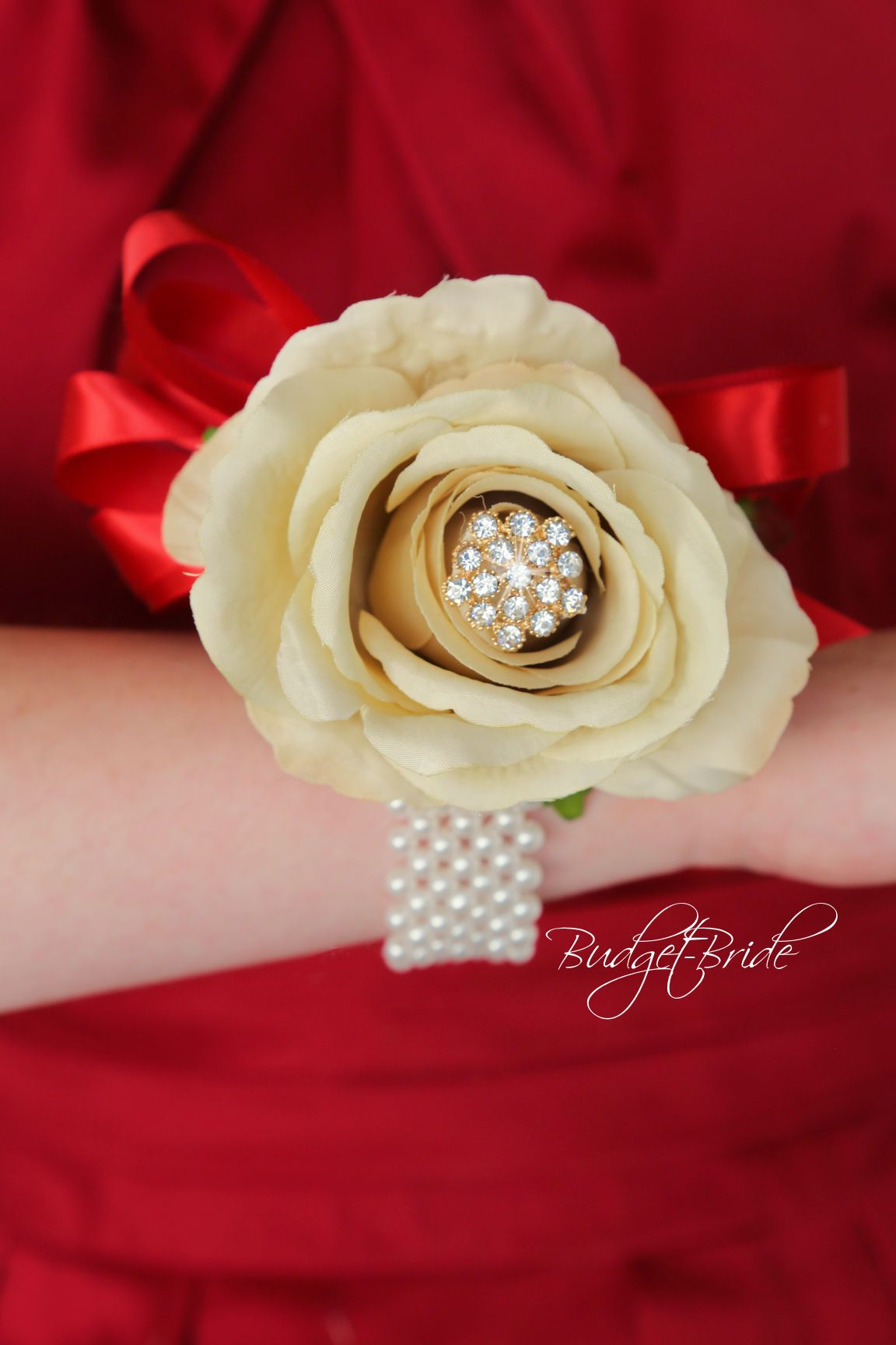 David's bridal red wedding dress  Davids Bridal Apple Wedding Bouquet in Red Beige and Gold