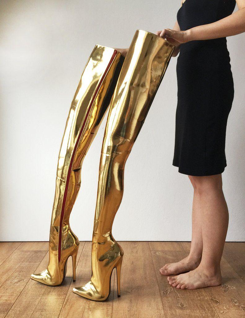 be6495b2289 RTBU MAQ Hard Shaft Customized Crotch Hi 18cm Stiletto Boot Gold Metallic  Very High Heels,