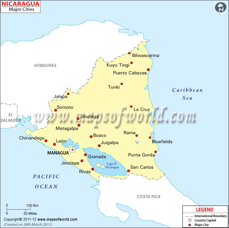 Nicaragua Cities Map Mexico Central America Pinterest City
