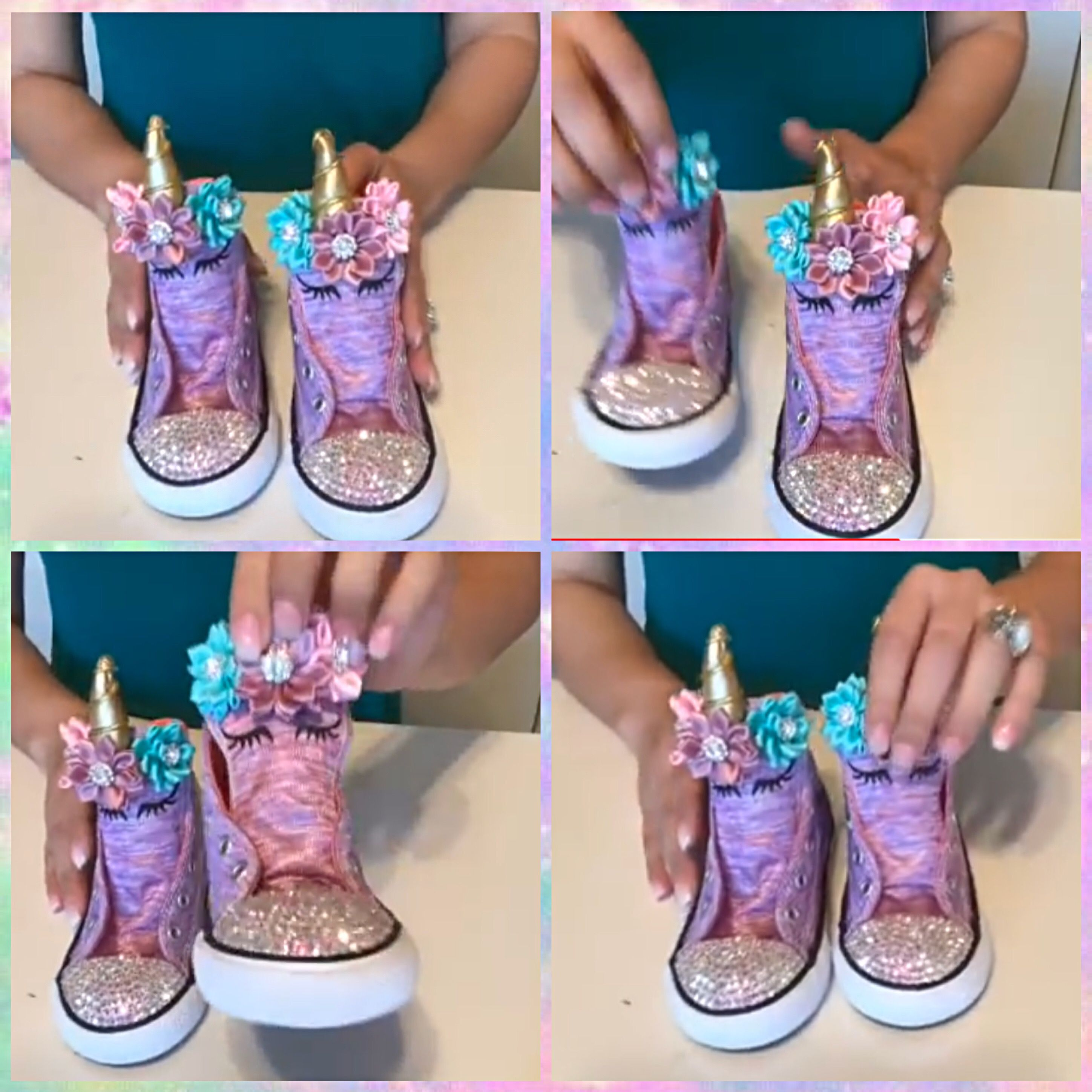 1dd98697ff6 DIY Unicorn High Top Converse Shoes with Swarovski crystals ...