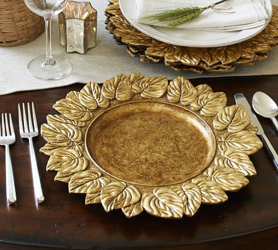 Gold Leaf Charger Pottery Barn Holiday Dinnerware