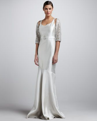 Sequined Lace Bolero & Sleeveless Sweetheart Gown by Rickie Freeman ...