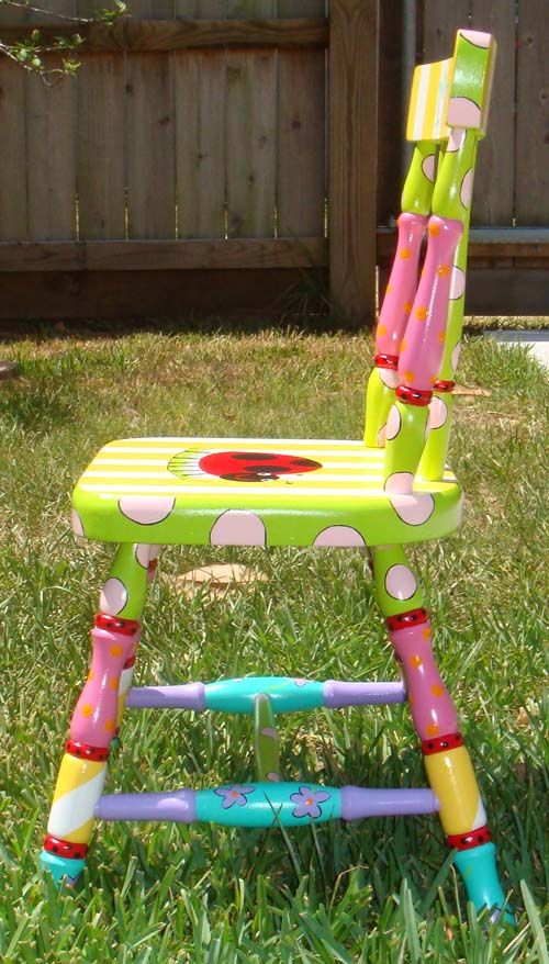 How fun would it be to paint a chair a bunch of bright ...