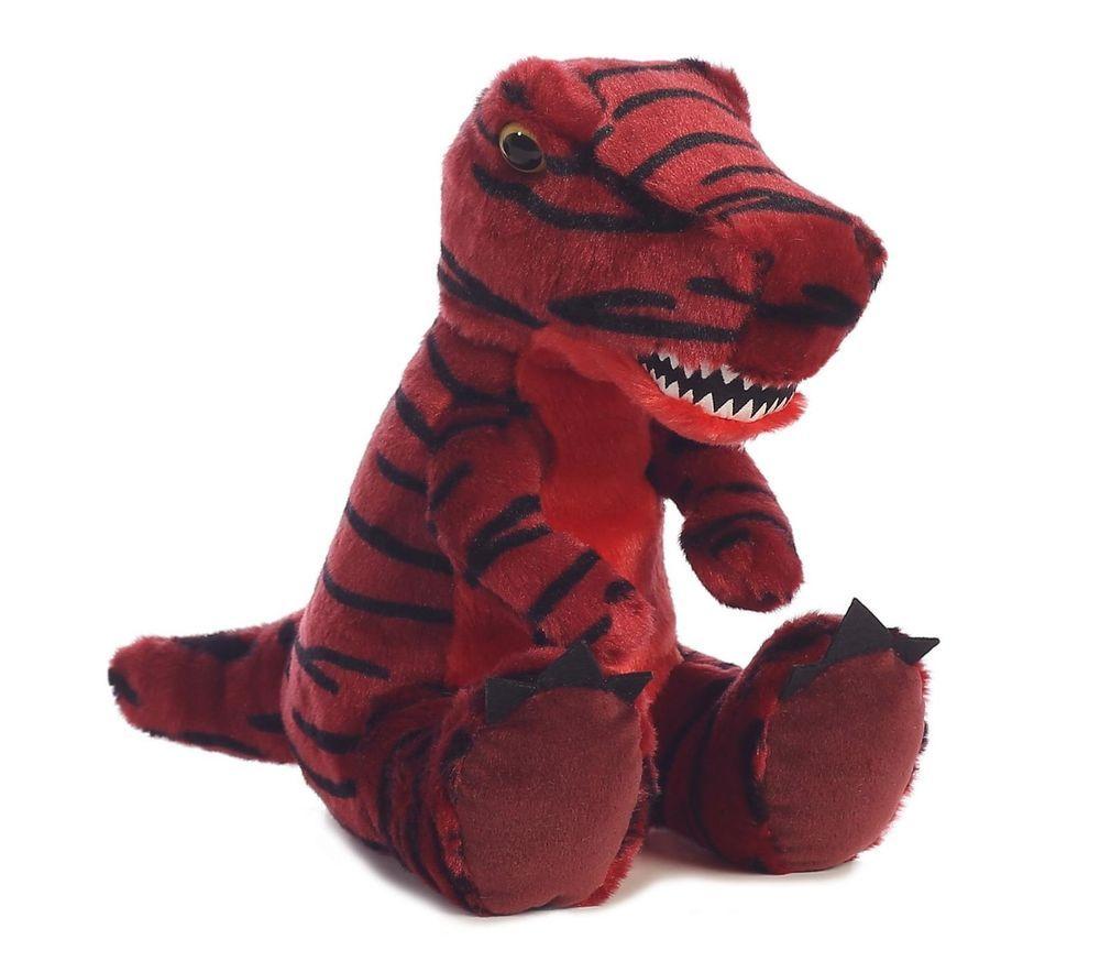 12 Aurora Plush T Rex Red Black Striped Dinosaur Stuffed Animal