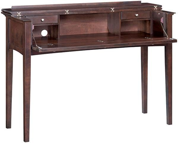 Alder McKenzie Console Desk   Part of the McKenzie collection. Features hinged top, drawers and cubbies, and 2 cord-access holes.
