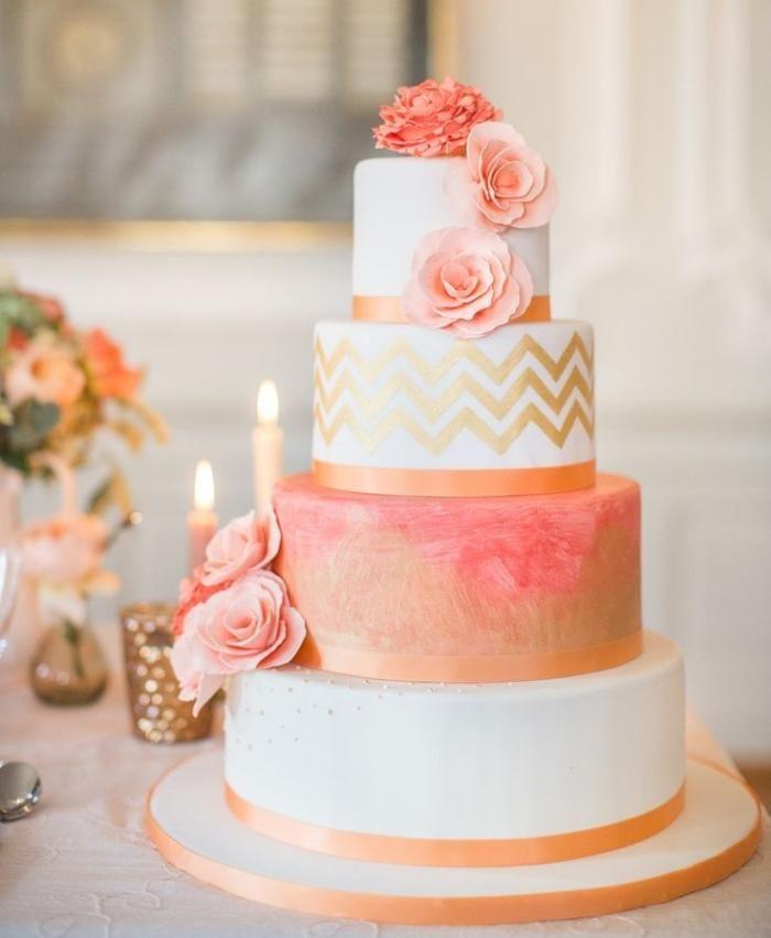 PEACH WEDDING CAKE  Wedding Cakes in 2019