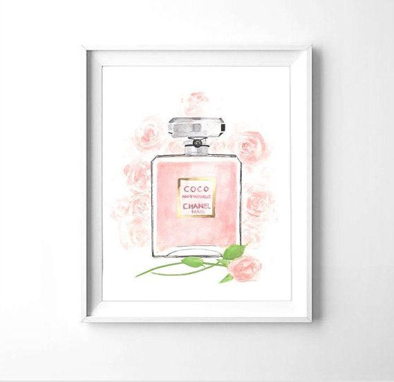 Chanel Coco Medemoiselle perfume watercolor by PrintableBouquet