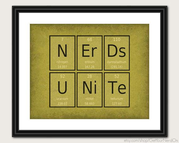 Periodic Table Word Poster Nerds Unite Wall Art by GetYourNerdOn ...