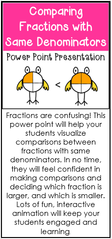 Comparing Fractions with Same Denominator Power Point | TpT Math ...