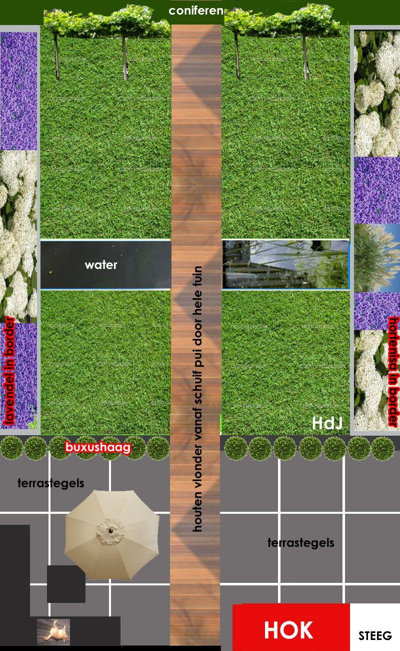 Alle inspiratie van strakke tuinen verzameld en verwerkt in een schets voor mijn eigen achtertuin (13 x 8 meter). Antracietkleurige terrastegels, houten vlonder door de hele tuin, gras, vijver over breedte van de tuin, borders met lavendel en hortensia's.