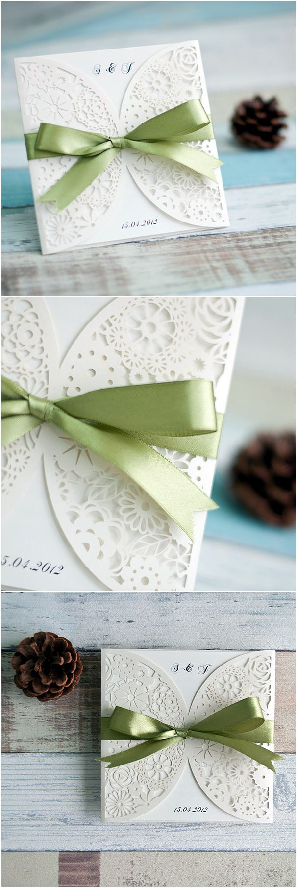 inexpensive simple white laser cut wedding invitations with sage ...