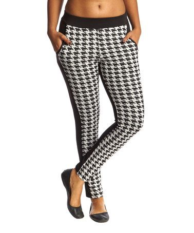Love this Black & White Houndstooth Leggings by S-Twelve on #zulily! #zulilyfinds