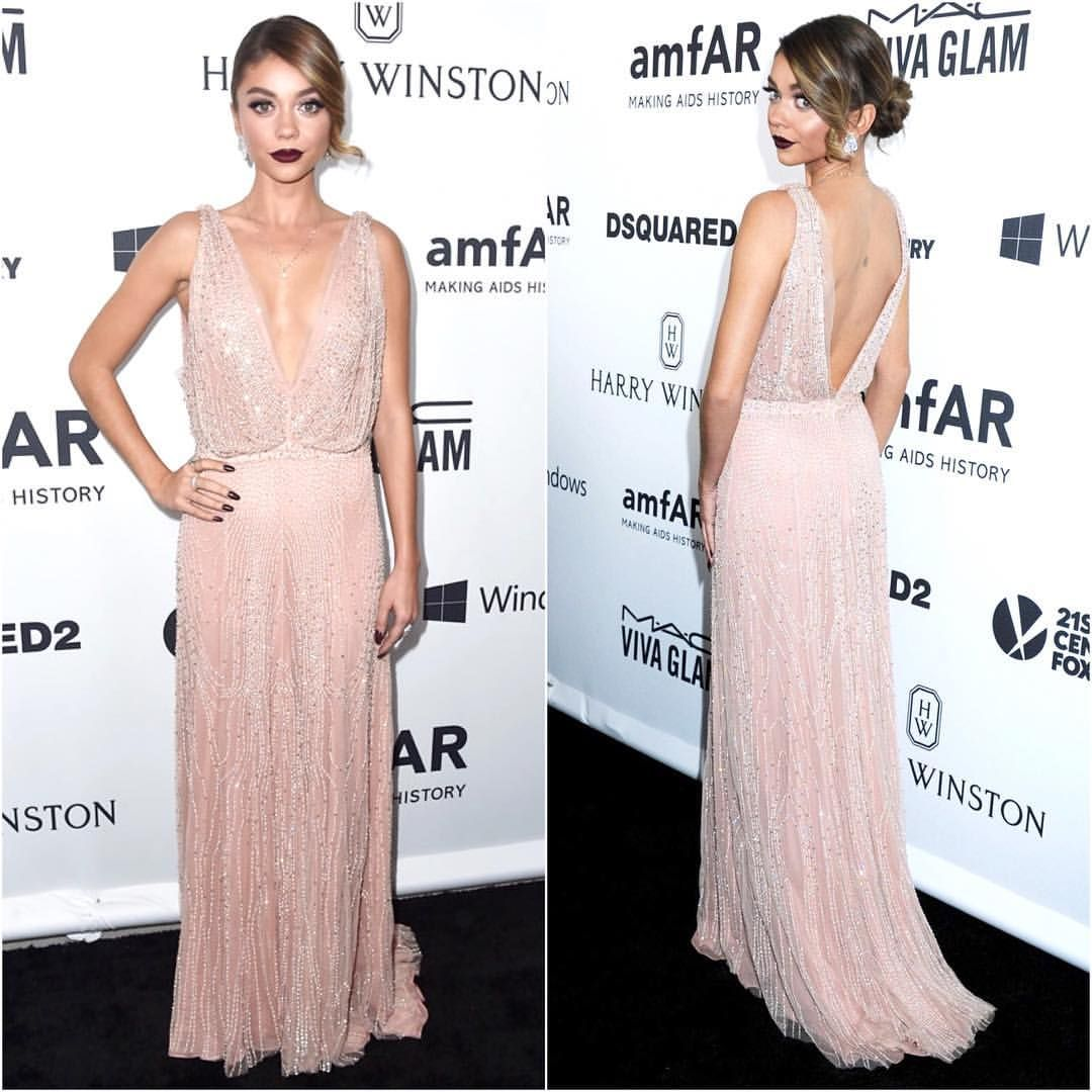 """Brad Goreski on Instagram: """"@therealsarahhyland brought some sexy sparkle to the @amfar carpet last night in an @jennypackham gown and @lorraineschwartz jewels.  by @ryanrichman  by @allanface ❤️ @daniela_viviana"""""""