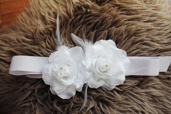 Bridal Sash Wedding Belt 2 Flowers made from Pure white by LAmei