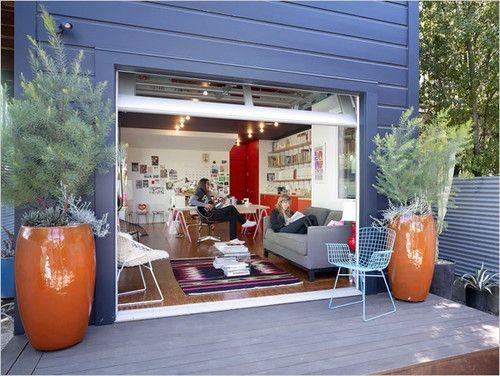 Neat Studio Space Glass Garage Door Home Converted Garage