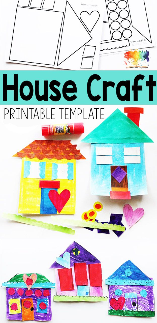 Build your own house with this printable craft template paint or color also  craftivity creative projects for kids rh pinterest
