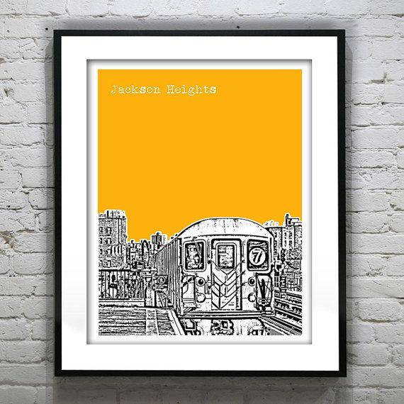 Jackson Heights New York Skyline Art Print Poster Queens Number 7