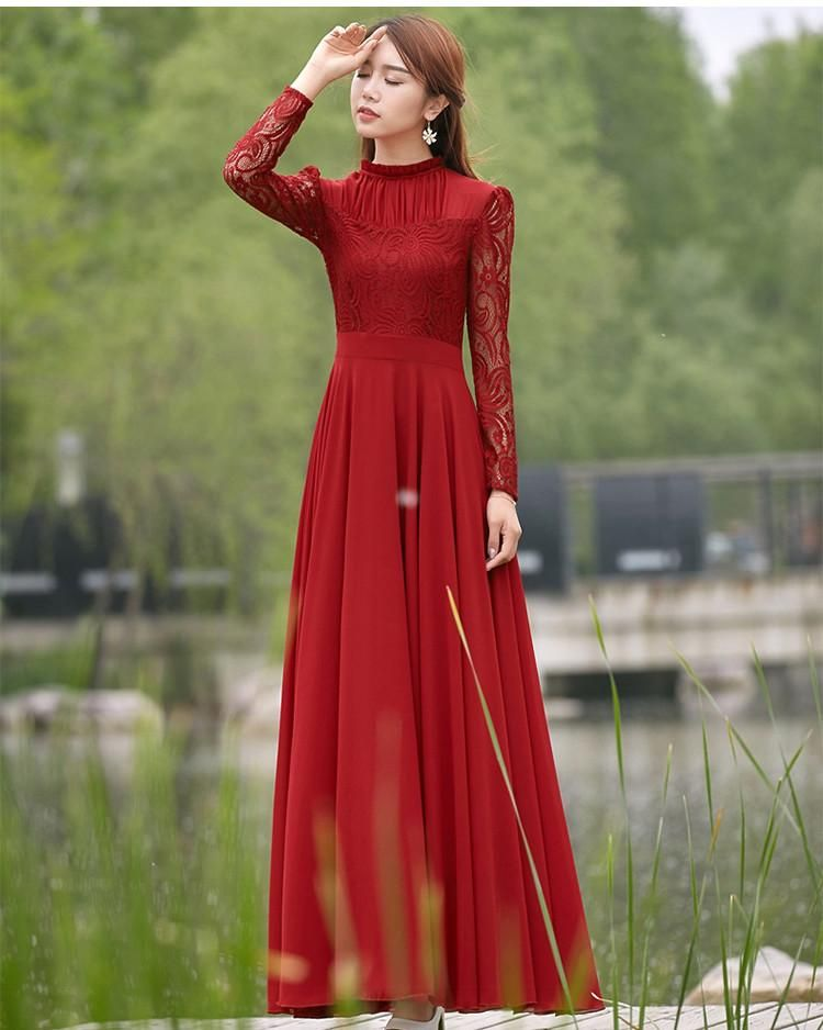 fac6a452e58 Charming Long Lace Sleeves Pleated Chiffon Long Red Maxi Dress -  MeetYoursFashion - 2