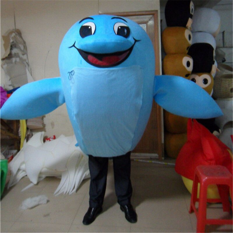 6112df60 Cosplay Sky Blue Dolphin Adults Mascot Costume Cartoon Animal Fancy ...