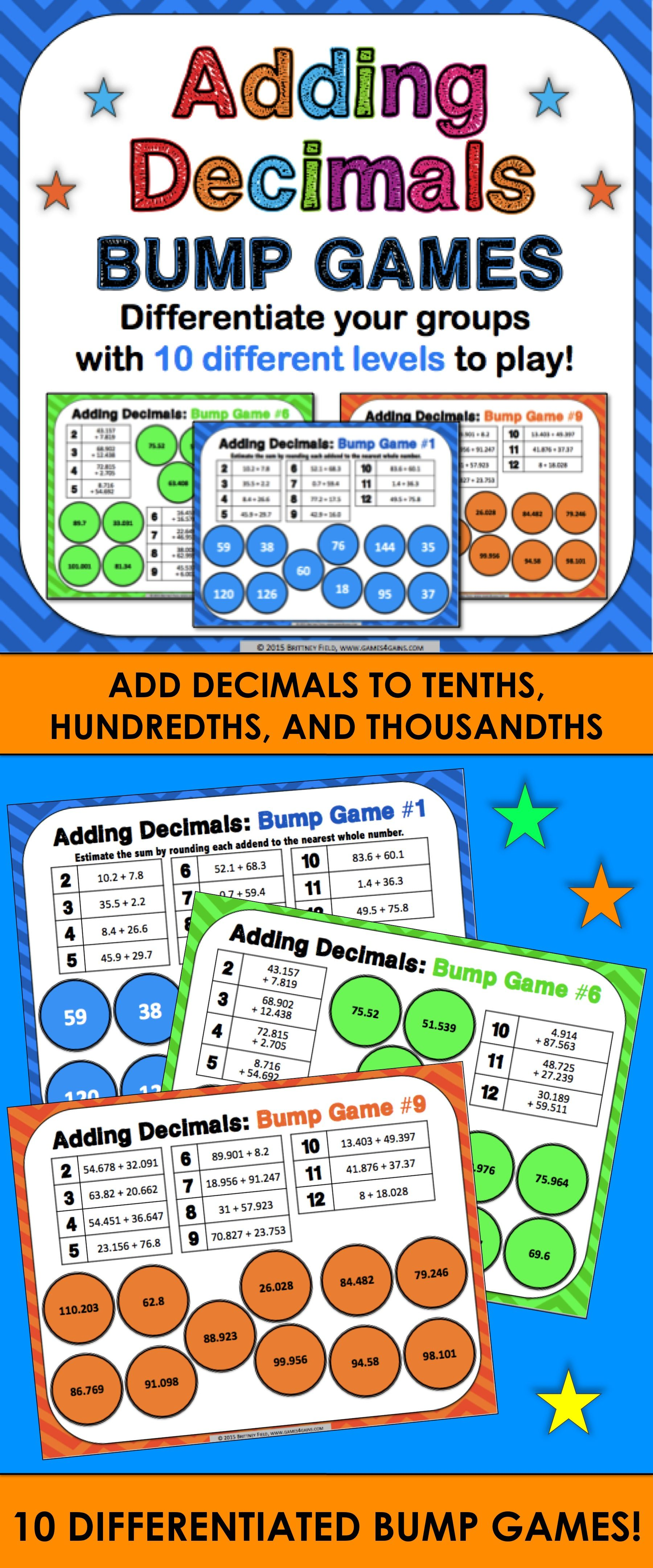 Adding Decimals Games Add Decimals To Thousandths 5 Nbt