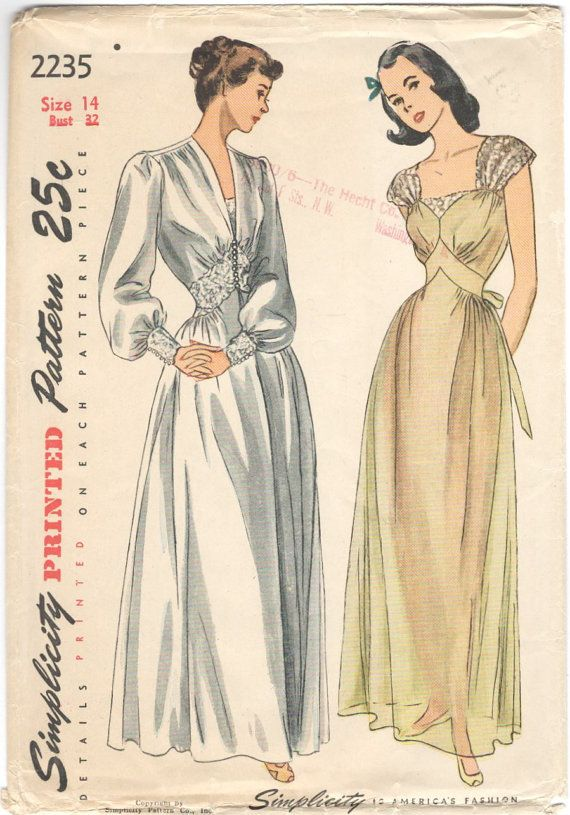 1940s Negligee Nightgown Pattern Simplicity 2235 Etsy Nightgown Pattern Vintage Sewing Patterns Vintage Dress Patterns