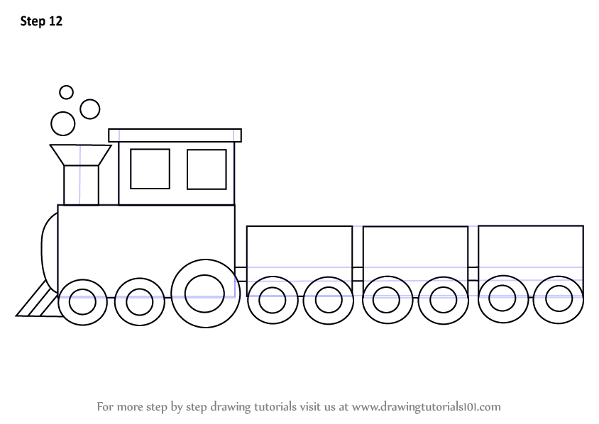 Learn How to Draw a Train for Kids (Trains) Step by Step