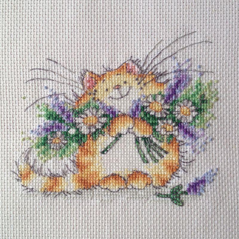 Lavender Blue. Margaret sherry, Floral cat, Cross stitch