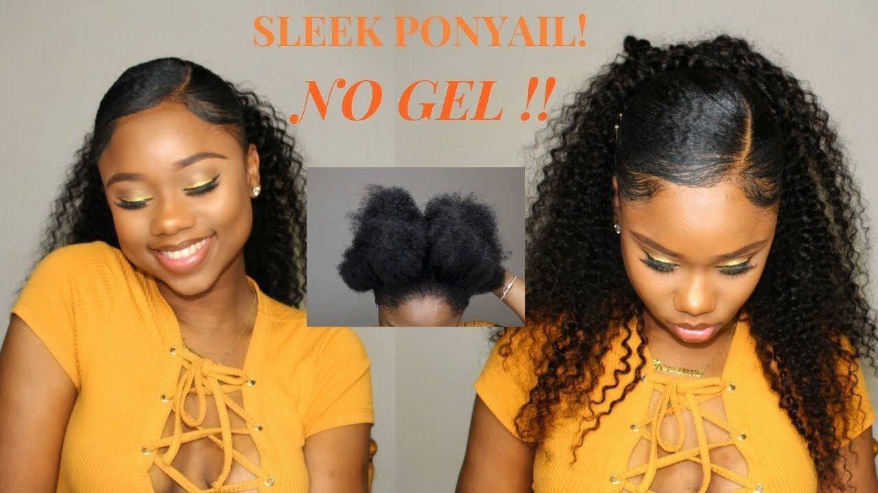 Sleek Low Ponytail On Short/Medium NATURAL HAIR- NO GEL