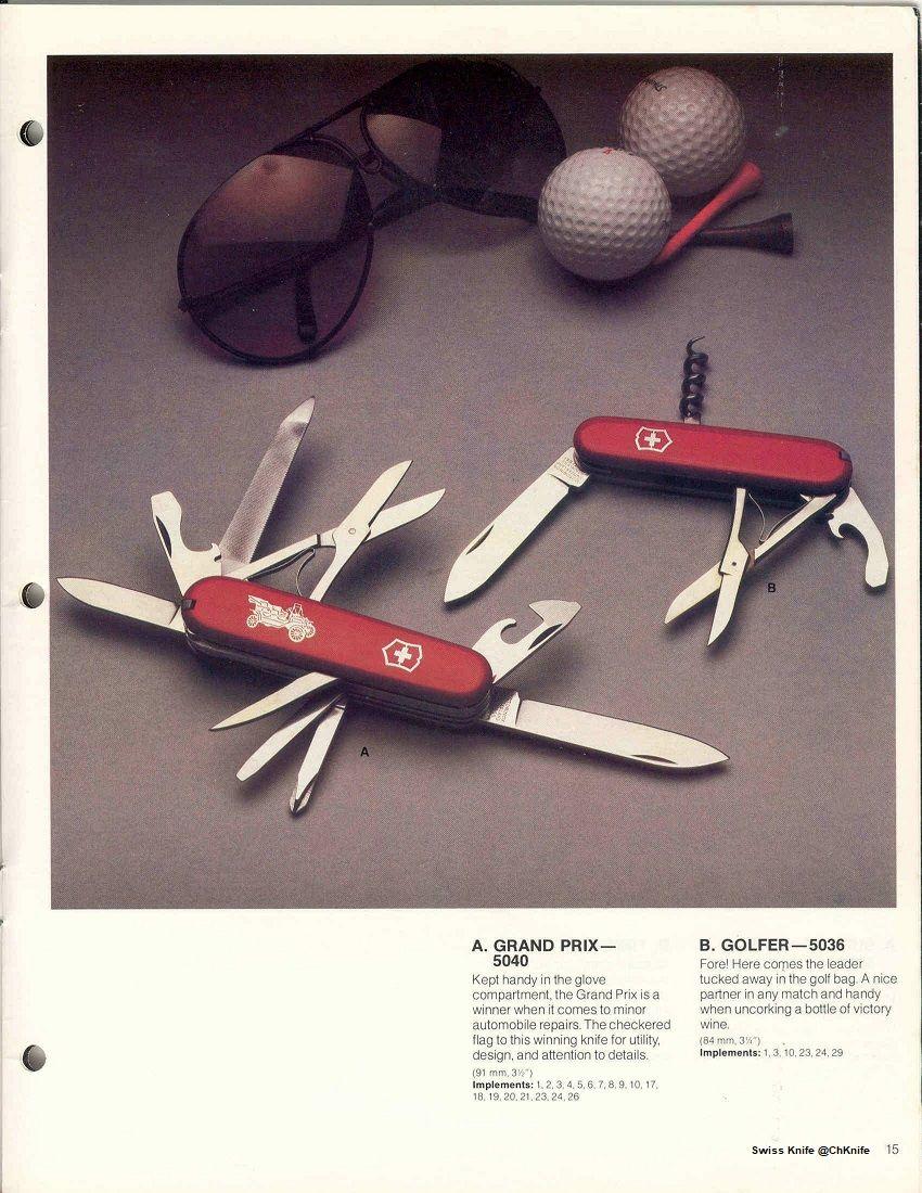 Victorinox Swiss Army Knife Catalog Page 1985 Bolsillos Navaja Cuchillas