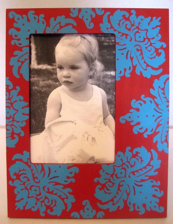Hand Painted Picture Frame 4x6 Damask Red and by sweetdixiedesigns, $25.00
