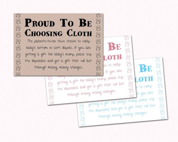 Baby Shower Invitation Insert Proud To Be Choosing Cloth Cloth