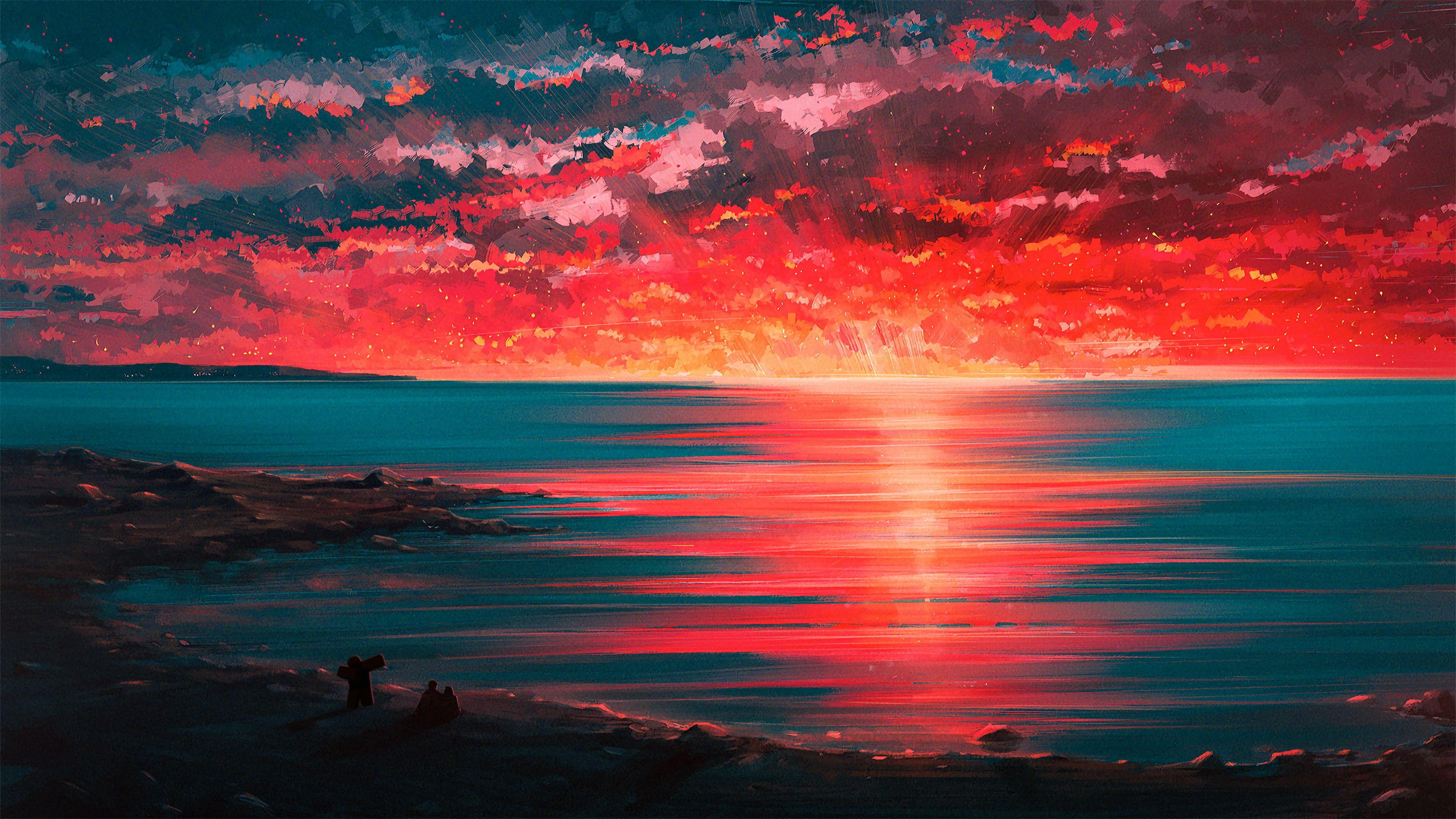 4k Speed Paint Beach Digital Art Sunset Horizon Couple Seaside 4k Wallpaper Hdwallpaper Desktop In 2020 Sunset Painting Art Art Wallpaper