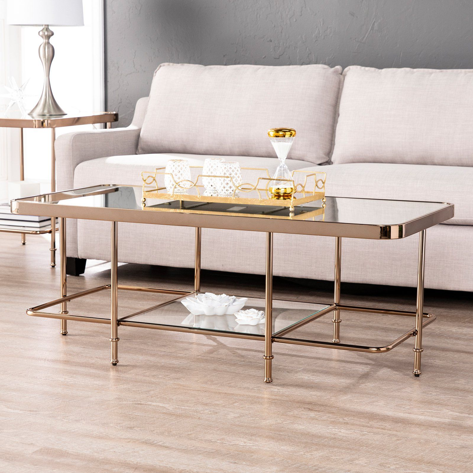 Southern Enterprises Sorrento Mirrored Coffee Table With Images