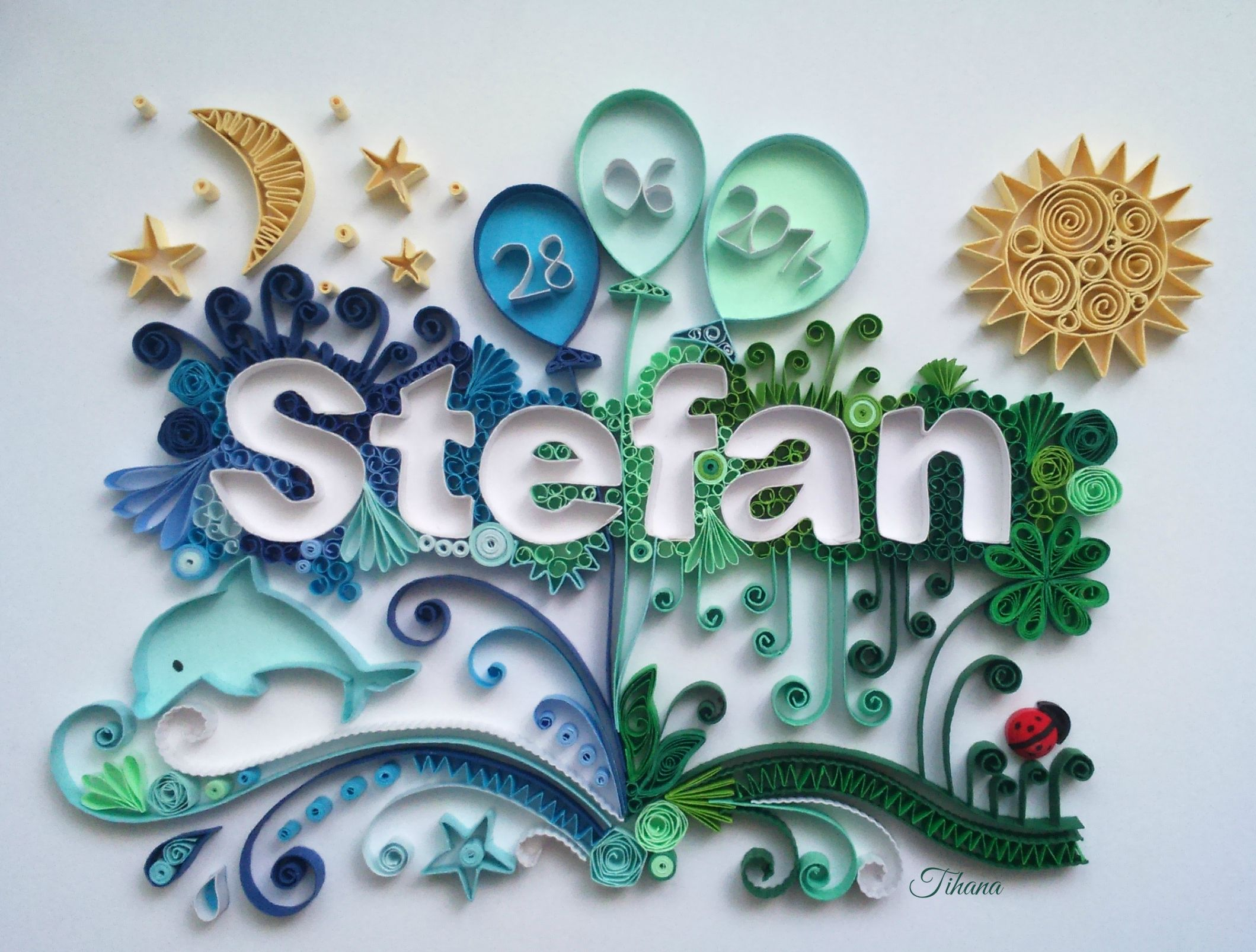 Quilled name Stefan, quilling moon, quilling sun, quilling ladybug ...