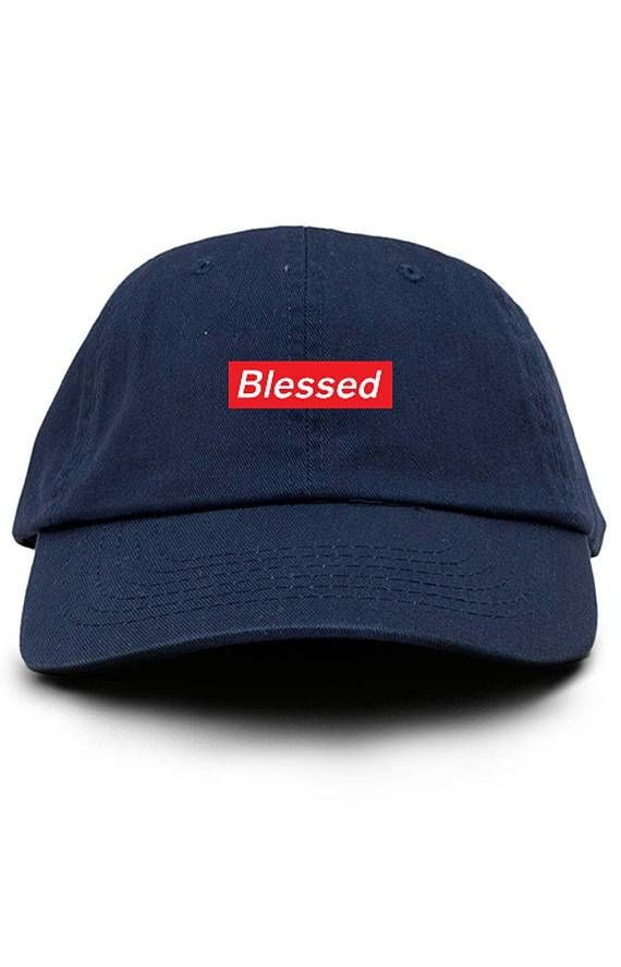 2da4969a5f9 Blessed Supreme Box Logo Custom Dad Hat Adjustable Baseball Cap New - Navy