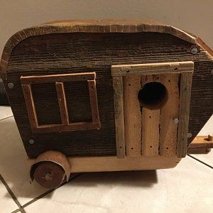 Vintage Birdhouse Camper 9 Inches Long
