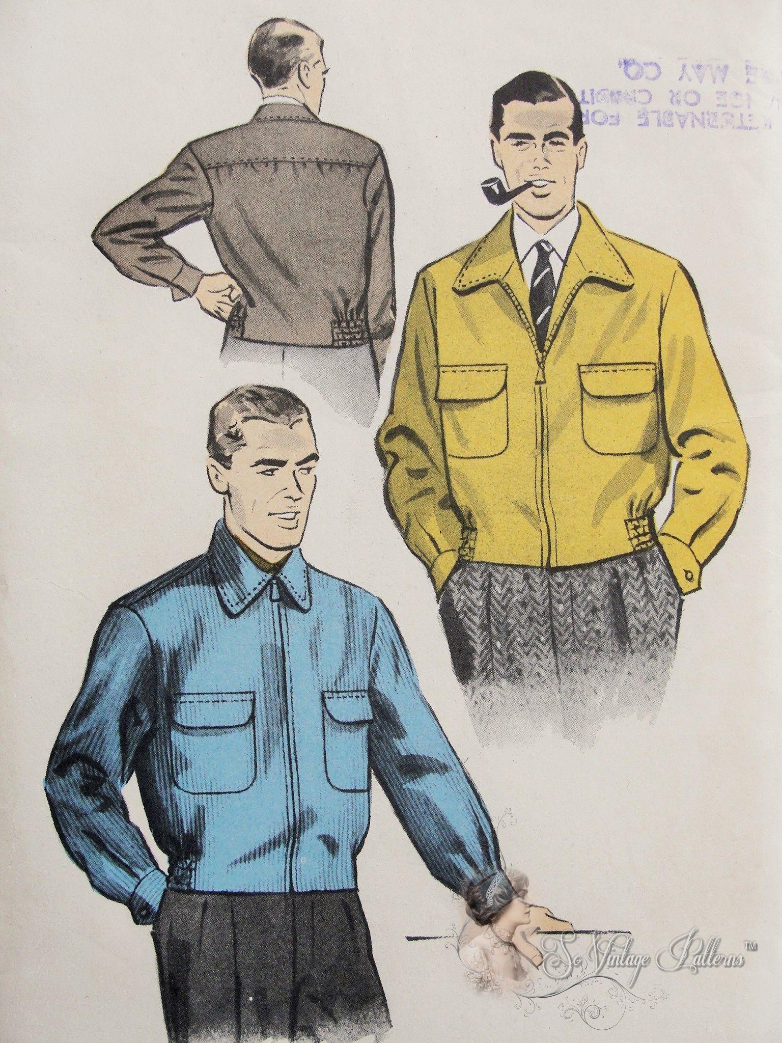 Pin By So Vintage Patterns On Vintage Mens Wear Patterns Jackets Men Fashion Mens Jacket Pattern Menswear