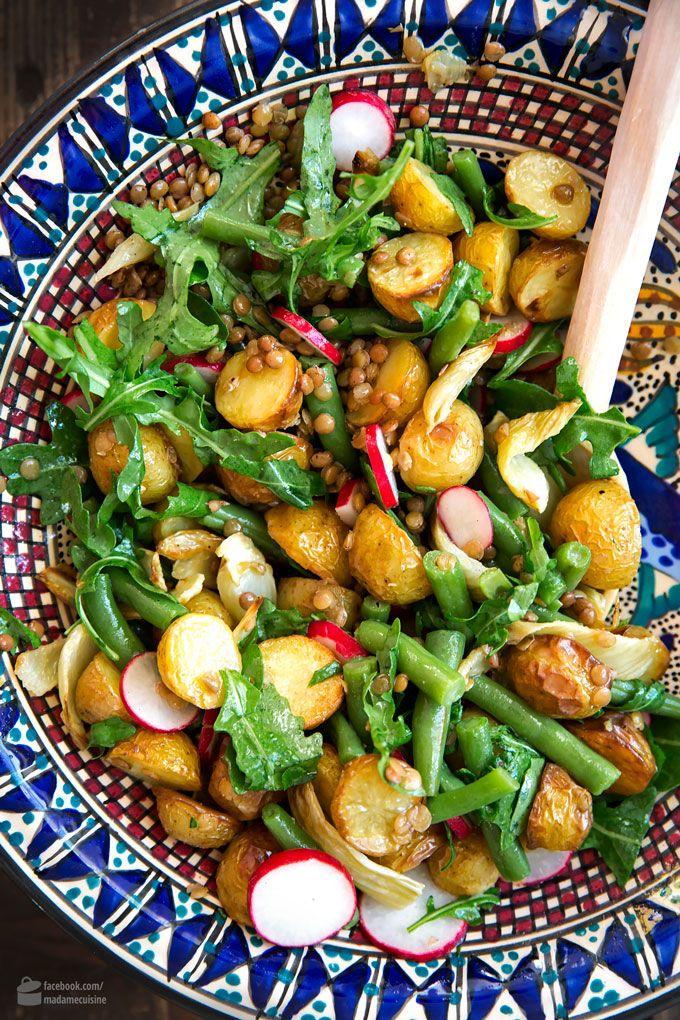 Backofen-Kartoffelsalat mit Fenchel und Bohnen #potatosalad
