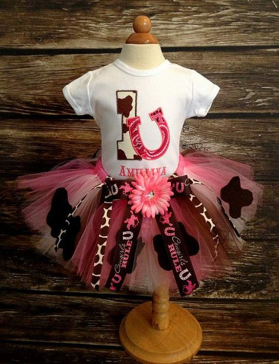 Cowgirl Birthday Outfit Shirt And Tutu Hot Pink Light Brown Costume Halloween Pageant On Etsy 5950